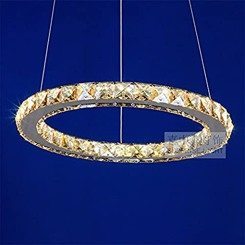 lfnrr Ambre acier inoxydable haut Cristal Pendentif Moderne lumière LED Lustre en cristal Salon Chambre à coucher élégant lustre, Diameter 50cm 30W, White light