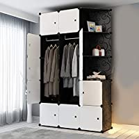 Wardrobe Cube Clothes Cabinet Clothes Organizer DIY Modular Clothing Storage Plastic 6 Cubes 2 Hanging Section 3 Corner Portable for Clothes Shoes Toys Bags Books
