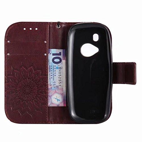 LEMORRY Nokia 3310 (2017) Custodia Pelle Cuoio Flip Portafoglio Borsa Sottile Bumper Protettivo Magnetico Morbido Silicone TPU Cover Custodia per Nokia 3310 (2017), Fiorire (Verde) Marrone