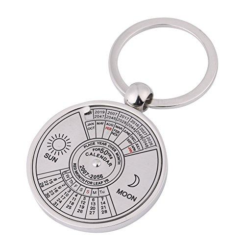 Kalender Schlüsselbund, 50 Jahre Metall Ewiger Kalender Schlüsselring 2007 bis 2056 Sonne und Mond Kalender Schlüsselbund (Kalender Zeichen)