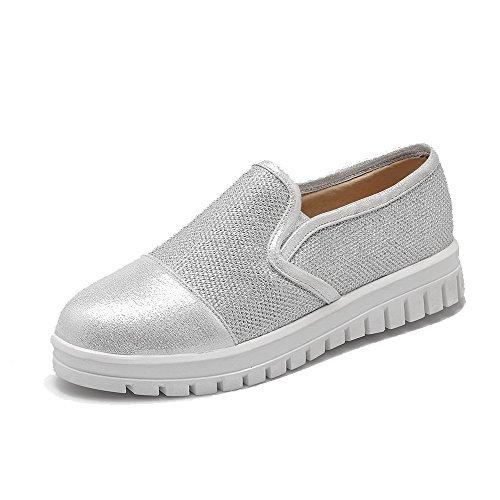 AgooLar Damen Rein Blend-Materialien Niedriger Absatz Rund Zehe Ziehen Auf Pumps Schuhe Silber