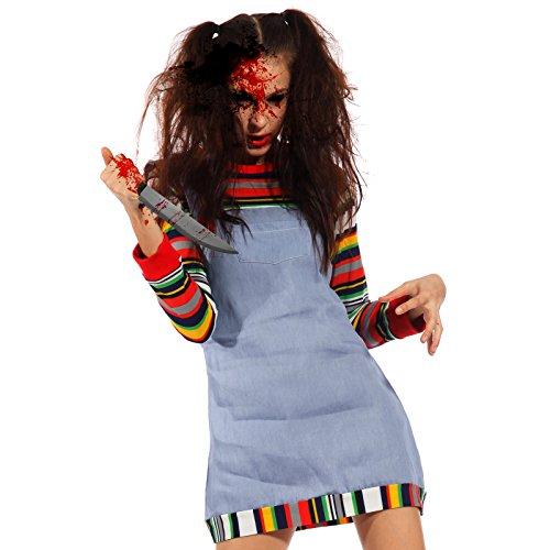 Horror halloween cosplay costume donna travestimento da chucky doll bambola assassina taglia unica