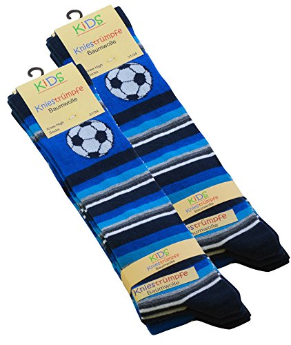 6 Paar Kinder Kniestrümpfe mit Fußball Motiven, Baumwolle (ÖKO-Tex Standard 100 zertifiziert) (Kniestrümpfe Jungen)