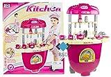 Küche - Koffer Kinderküche - Moderne Küche mit Licht, Ton, Töpfe, Besteck, Aufkleber und viel Zubehör - Meine erste Küche - Spielküche