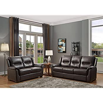 SC Furniture Ltd Chocolate Brown High Grade Genuine Leather 3 Seater Sofa + 2 Seater Leather Sofa Suite NEW YORK (3+2)