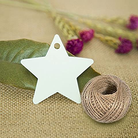 100 PCS Kraft Paper Tags Star Shape Gift Tags with 100 Feet Natural Jute Twine String Idea for Wedding Favor Tags, Party Gift Tags, Price Labels, Luggage Tags