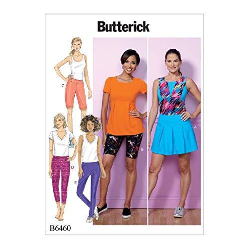 Butterick Patterns Butterick Schnittmuster 6460ZZ, Skort, Shorts und Hose, Größen lrg-xxl, mehrfarbig (Skort Stretch-baumwolle)