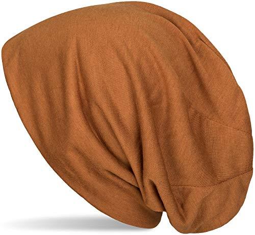 styleBREAKER Klassische Slouch Beanie Mütze, leicht und weich, Longbeanie, Unisex 04024018, Farbe:Cognac Fashion Unisex Schal