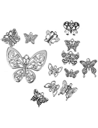 C2K 12pcs Exquisite Silver Butterfly Shape Charms Pendants Jewelry DIY