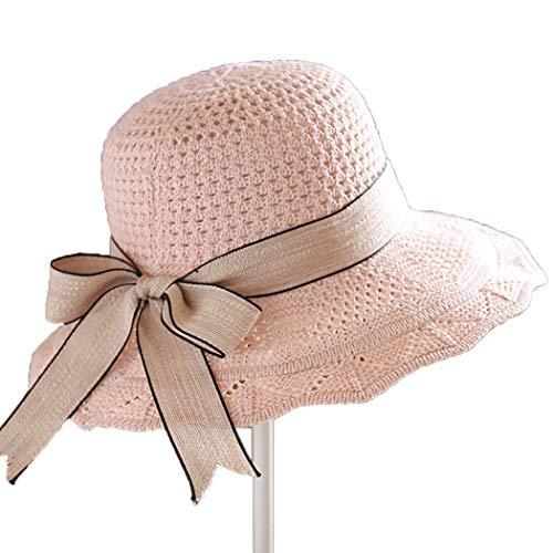 Ozq-hat Sommer Sonne Hüte Damen Schutz breite Krempe Sunhat verstellbare Angeln Hut Stricken Hut Openwork Streamer Faltbare Strand Hut,pink,OneSize Pink Angel Hat