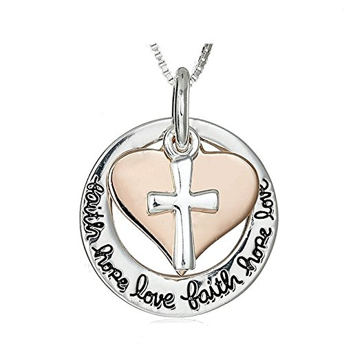 Majesto Katholische Kreuz religiöse inspirierende Halskette Liebe Herz Damen Mutter kleines Mädchen Teenager - Geschenk Schmuck Zubehör 18 Karat vergoldet