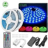 Minger RGB LED Streifen Kit, Wasserdicht 2x5M(10M) 5050 RGB 300 LED Strip Beleuchtung Flexibler Farbenwechsel mit 44 Schlüssel IR Fernbedienung Ideal für Haus, Küche, Christmas