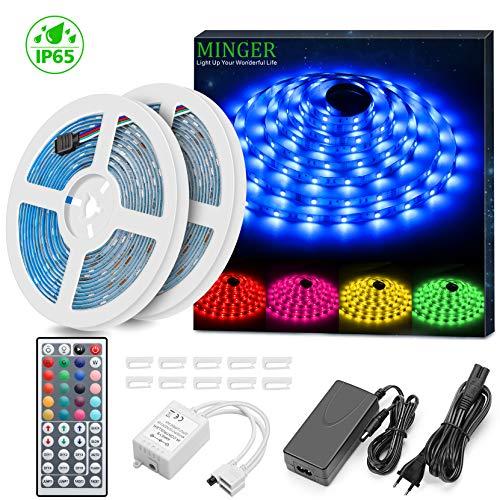 2 Pack Tiras LED 5 Metros, Minger Tira LED Iluminación Multicolor Control Remoto de 44 Botones con Mando a Distancia Impermeable, Perfecto para Cocina, Jardín, Decoración etc.