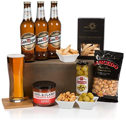 A Taste of Spain For Fathers Day - Beer Hamper - Hampers For Him - San Miguel Beer and Tasty Food Treats