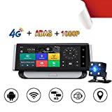 Dashcam Auto Dash Camera 7 Zoll 1080P Full HD Mittelkonsole GPS-Navigation Recorder ADAS4GWiFi vor und nach der doppelten Aufzeichnung fährt Bildzyklusvideoparküberwachung 170 ° Weitwinkel aufhebt
