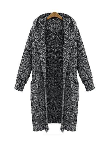 FStory Damen Strickjacke Cardigan Lang Warm Langarm Pullover Pulli Tops Bluse Langarmshirt Strickmantel mit Taschen
