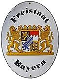 Freistaat Bayern Grenz Emailschild Emaille Schild Freistaat Bayern 28,5 x 37,5 cm Grenzschild Email Oval.