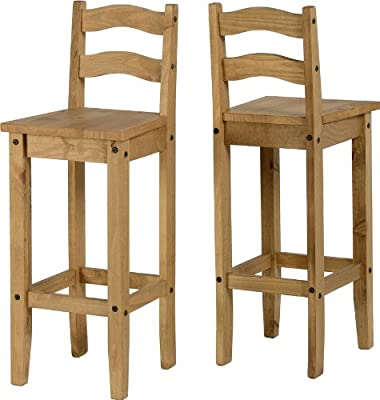 Mercers Furniture Corona Bar Stools, Wood, Antique Wax, 1 Pair