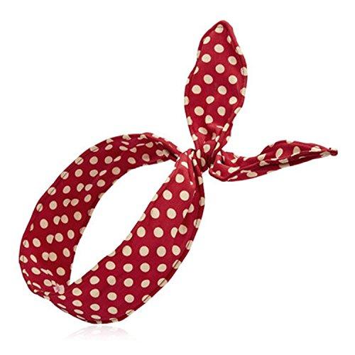 hugestore 2pezzi Donna Cute a pois cotone fascia per capelli turbante headwrap Deep Red
