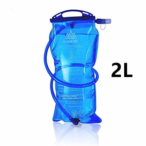 AONIJIE Faltbare 1L/ 1.5L/ 2L/3L Trinkblasen Wasserbeutel PEVA Hydratation Blasen für Camping Wandern Reiten und Klettern (2L) (Hydratation Blase Mundstück)