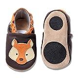 HOBEA-Germany Baby Lauflernschuhe Tiermotiv mit Anti-Rutsch-Sohle, Kinder Hausschuhe Mädchen & Jungen, Lederschuhe Baby (18/19 (6-12 Mon), Fuchs orange-braun)