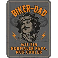 Original RAHMENLOS® Blechschild für den Biker-Papa: Biker Dad, wie ein normaler Papa, nur cooler