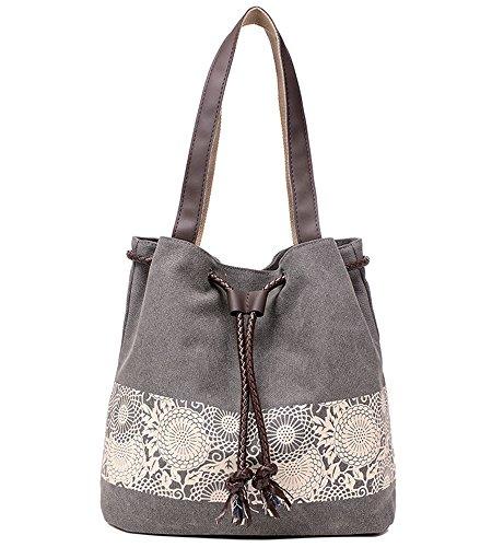 Donykarry Damen Schultertasche Henkeltasche Mädchen Canvas Handtasche Outdoor Freizeit Citytasche mit Modernes Blumenmuster (Grau) (Kordelzug Baumwoll-canvas)