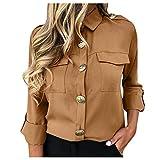 WINLISTING Mujer Elegantes Blusas, Otoño e Invierno Color sólido Botón Manga Larga Camisas Casual Corte Ajustado Camiseta Top