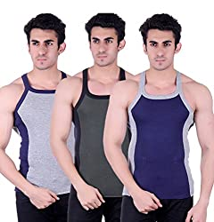 Zimfit Gym Vest - Pack of 3 (Blue_Green_Grey_32)