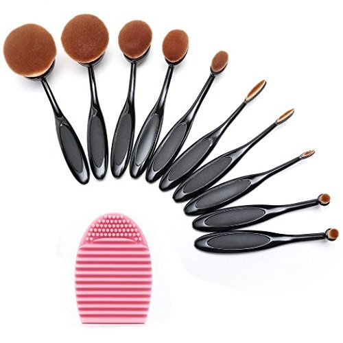 Lifestyle-You (Set of 10 pcs) Makeup Brush Oval Toothbrush Foundation Powder Blush Soft Face Brush Set + Silicone Makeup Brush Cleaner Brush Egg