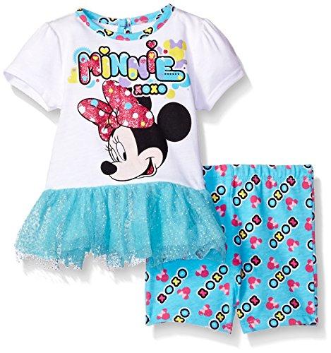 Disney Baby Girls' Minnie Mouse 2-Piece Knit Top and Bike Short Set, Capri, 0/3 -