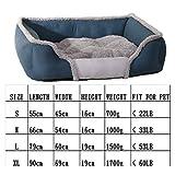 Haustierbett, Weiches Luxus Hundebett mit Abnehmbarem Kissen, Hundesofa mit Wendekissen, Blau Braun S-XL Quadratisches Haustierbett Cat Pet Nest