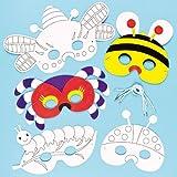 Masken zum Basteln und Ausmalen - Insekten - Käfer - Biene - für Kinder ideal zum Kindergeburtstag und Karneval - 6 Stück