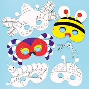 Lot de 6 Masques Insecte à colorier et décorer - idéal pour les déguisements de Carnaval pour enfants