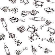 ... tibetano colgantes de la aleación, de tijera, Tubería, Pin de seguridad, el hilo del ovillo, Botón, encantos Máquina de coser, sin plomo, plata antigua, ...