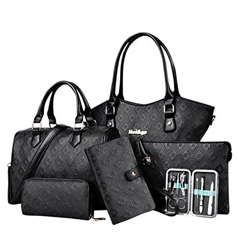 YipGrace Frau Sechs Stücke Schulter Handtaschen Brieftasche Sets Schwarz
