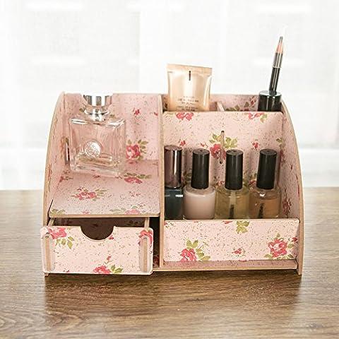 Desktop cosméticos admitir cartucho de madera del cajón portaobjetos cosméticos admitir rack rack multicapa ,138- camelias