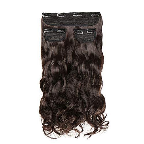 Extension capelli clip mossi sintetici veri lunghi 50cm 20 inch 3 ciocche 8 clip in hair extension da donna 190g - castano scuro