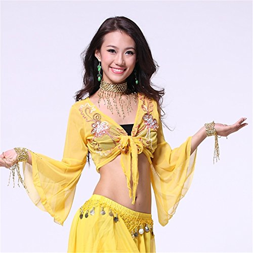 ... Women Sexy Dance Tops Bauchtanz Costume Embroidered Bandage Top  Dancewear Bauchtanz Tops Yellow ...