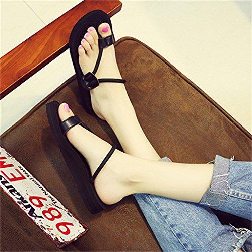 ALUK- Été - plat avec le mot trainer le fond de la plage pieds de sandales chaussons cool ( Couleur : Noir , taille : 36-Shoes long230mm ) Noir