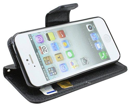 Iphone 5 / 5S // Buchtasche Hülle Case Tasche Wallet BookStyle mit STANDFUNKTION in Pink-Blau ( 2-Farbig ) @ Energmix Schwarz