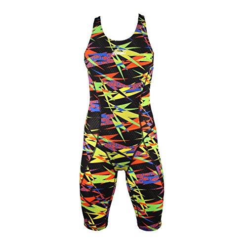 ZAOSU Damen & Mädchen Wettkampf Schwimmanzug Z-Speed Limited Edition | Limitierter Sport Badeanzug mit Bein, Größe:140, Farbe:Bunt