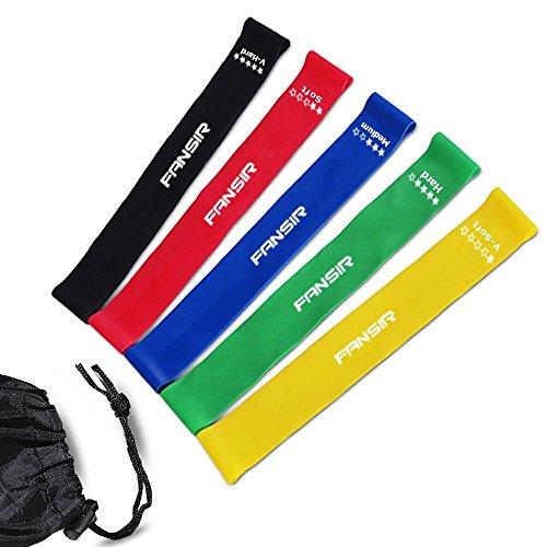 Bandas de resistencia–Set de 5Premium ejercicio bandas–ideal para mejorar la movilidad y la fuerza, Yoga, Pilates o para lesiones rehabilitación–adecuado para mujer y hombre–fabricado en látex natural material–Garantía de por vida
