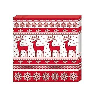 JUINSA Pack 20 Servilletas Navidad, Color Rojo/Blanco (86933)