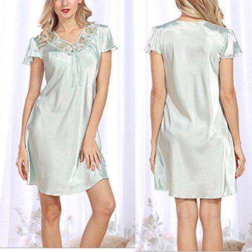 Zhhlinyuan Fashion Women's Mini Night Dress BabyDoll Satin Silk Lingerie Elegant Chemise Light Blue