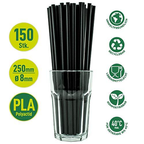 ChooseEco | 150 Pajitas de PLA (Plástico Orgánico) - 250mm largo - 8
