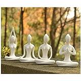 Aifeer meditationyoga Pose Keramik Statue Figur Yoga Figur Set Decor, Keramik, White Set of 4