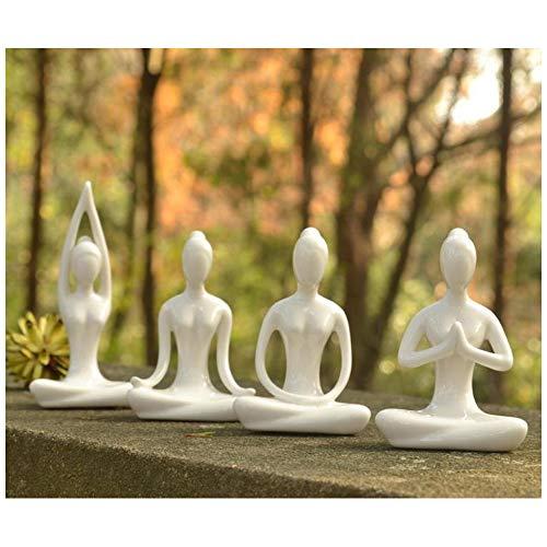 Aifeer MeditationYoga - Figura Decorativa de cerámica para Yoga, cerámica, White Set of 4
