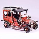 UniqueGift Retro Metall Rot Klassisch Antik Auto Deko Sammlerstück – Old Times Auto Modell Ornament – Vintage Stil Antik Fahrzeug – Tischplatte Retro Figur – Industrie Dekor