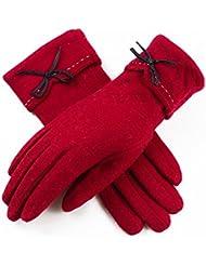 El engrosamiento de las señoras del invierno más el terciopelo gamuza cinco dedos de la pantalla táctil de ciclismo guantes calientes ( Color : Rojo )
